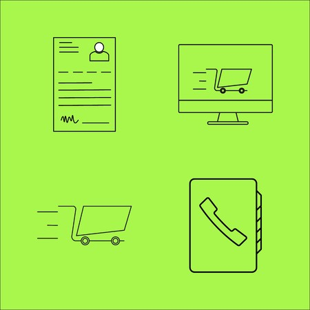 Business profile and online shopping cart outline icons set. linear icon Ilustracja