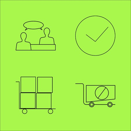 Business outline icons set.