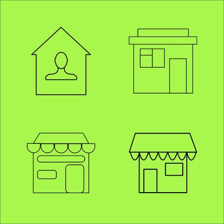 Buildings and Construction simple linear outline vector icon set. Ilustrace