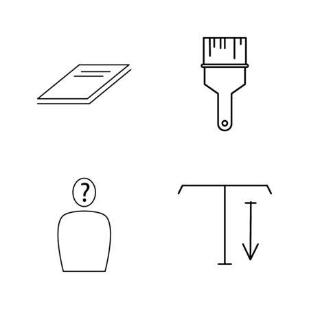 Conjunto de ícones do escritório simples contorno linear vector. Foto de archivo - 94266171