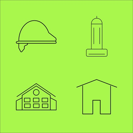Buildings and Construction simple linear outline vector icon set. Illustration
