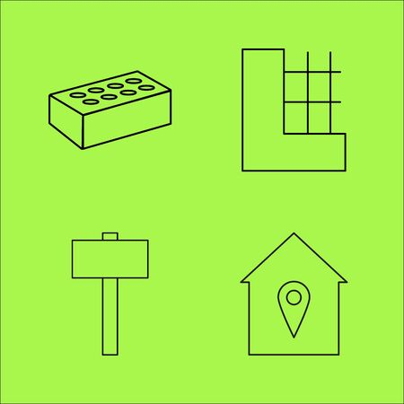 Buildings Ans Construction simple linear outline vector icon set. Иллюстрация