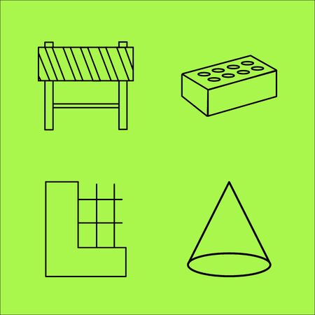 Buildings and Construction simple linear outline vector icon set. Иллюстрация
