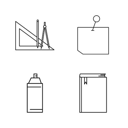 Office シンプルな線形アウトラインベクトルアイコンセット。  イラスト・ベクター素材