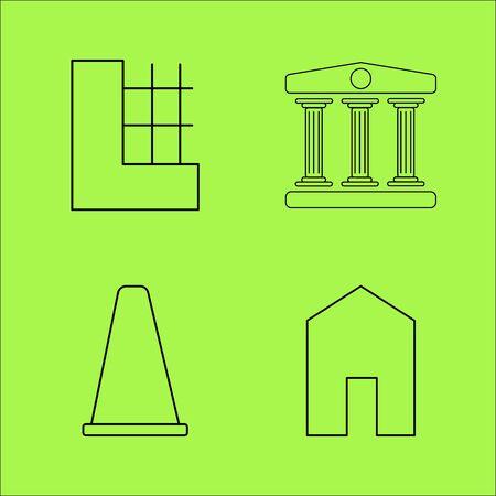 건물 및 건설 간단한 선형 개요 벡터 아이콘 세트입니다. 스톡 콘텐츠 - 94190852
