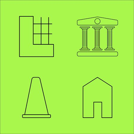 Buildings and Construction simple linear outline vector icon set. Stok Fotoğraf - 94190852