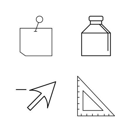 Office simple linear outline vector icon set.