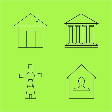 Buildings Ans Construction simple linear outline vector icon set. Ilustrace