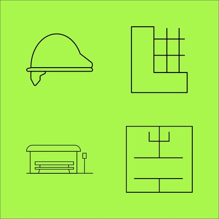 Buildings Ans Construction simple linear outline vector icon set. Stok Fotoğraf - 94132961