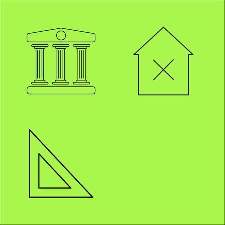 Buildings Ans Construction simple linear outline vector icon set. Illustration