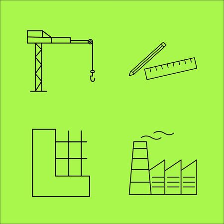 Buildings and Construction simple linear outline vector icon set. 일러스트