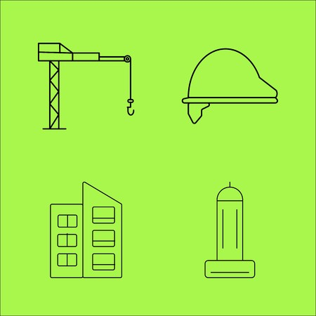 Buildings Ans Construction simple linear outline vector icon set. Illustration