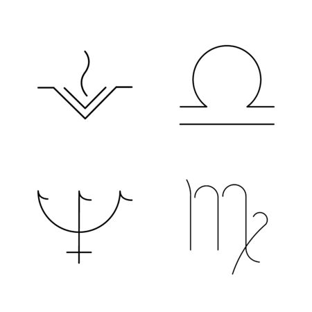 Astrology linear icon set Illustration