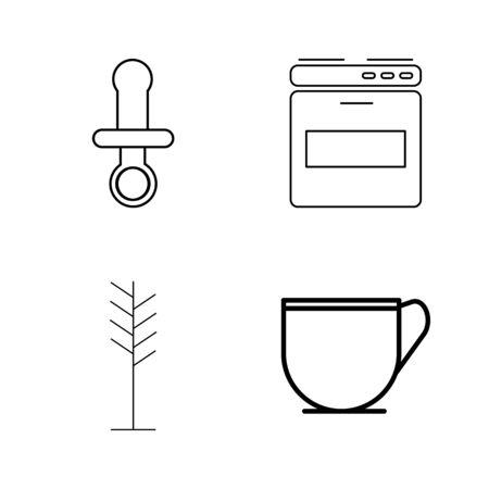 Home Appliances linear icon set