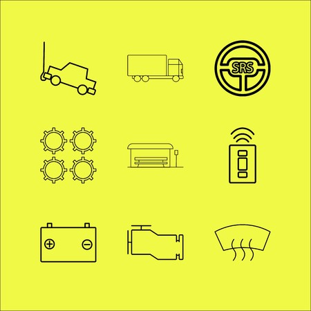 Transport and transportation linear icon set.