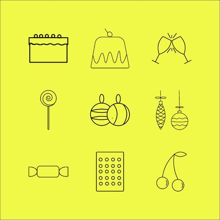 Food and drink linear icon set.