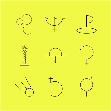 Linear icon set of astrology.