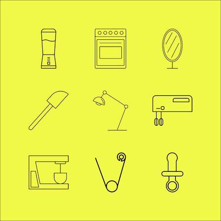 Home appliances linear icon set.