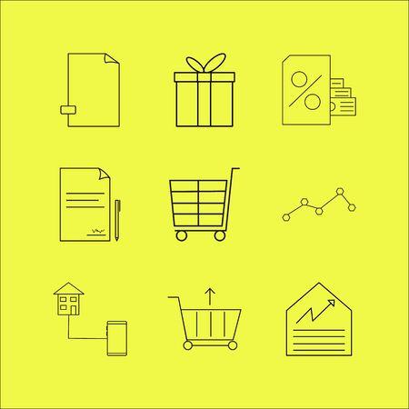 Business linear icon set. Simple outline icons Illusztráció