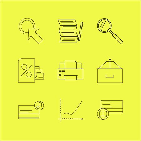 Business linear icon set. Simple outline icons Illustration