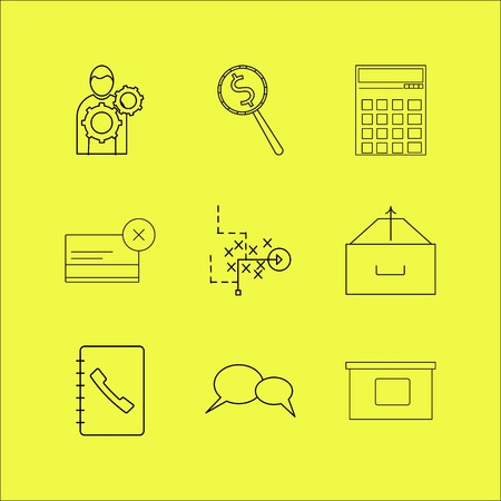 Business linear icon set. Simple outline icons Ilustracja