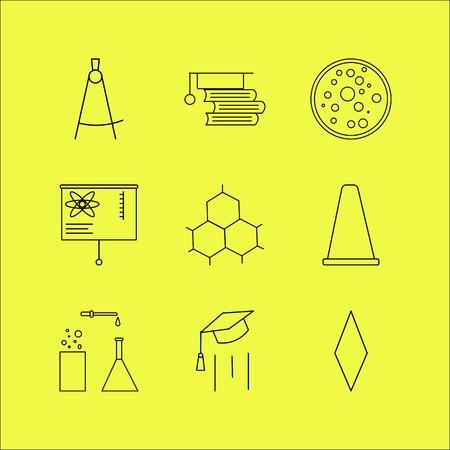 Conjunto de ícones linear de ciência. Ícones de contorno simples Foto de archivo - 94545774