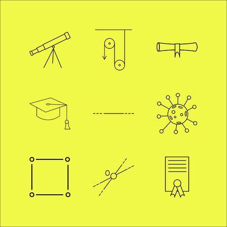 Science linéaire jeu d'icônes. Icônes de contour simples Vecteurs