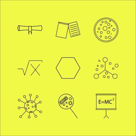 Conjunto de ícones linear de ciência. Ícones de contorno simples Foto de archivo - 94545984