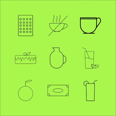 Food And Drink linear icon set. Simple outline icons Vettoriali