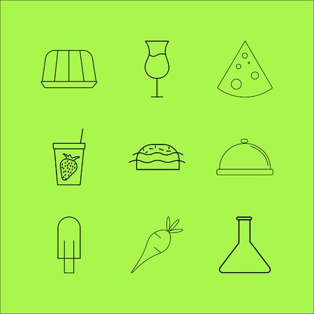 Set of food and drink simple linear outline icons on green background.