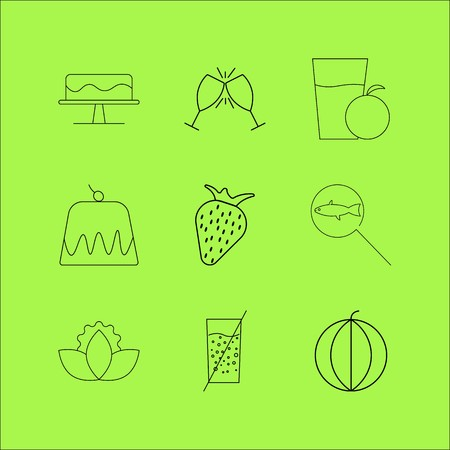 Food And Drink linear icon set. Simple outline icons Illusztráció