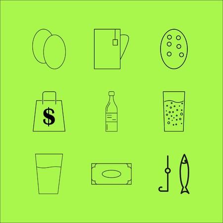 Food And Drink linear icon set. Simple outline icons Ilustração
