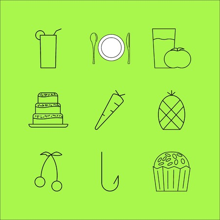 Food and drink linear icon set. Simple outline icons illustration.
