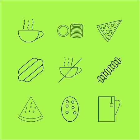 Food And Drink linear icon set. Simple outline icons Illusztráció