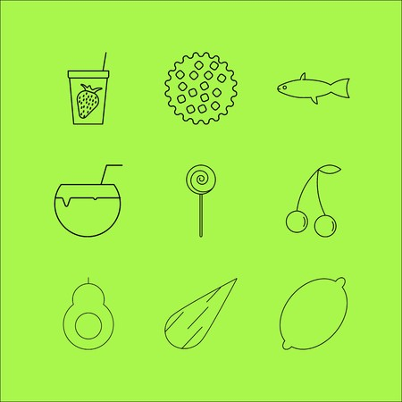 Food And Drink linear icon set. Simple outline icons Иллюстрация