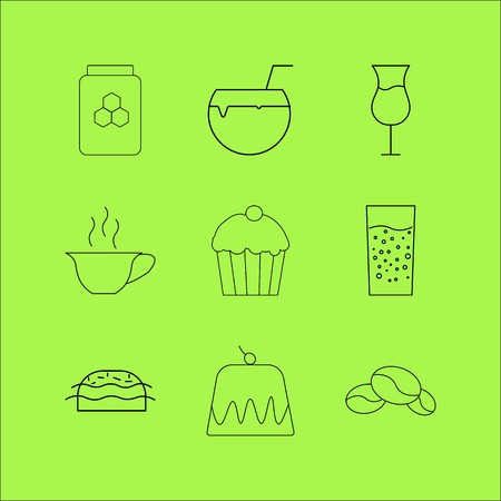 Food And Drink linear icon set. Simple outline icons Illustration