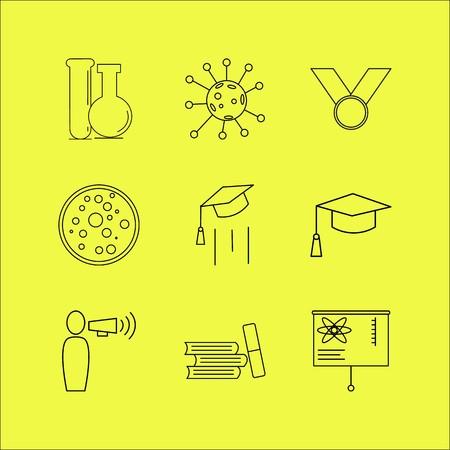Conjunto de ícones linear de educação. Ícones de contorno simples Foto de archivo - 94706753