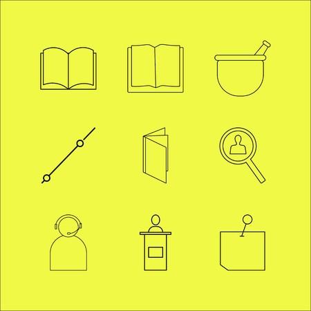 教育線形アイコンセット。単純なアウトライン アイコン
