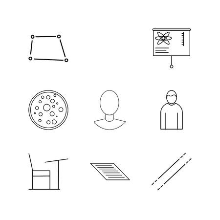 Conjunto de ícones linear de ciência. Ícones de contorno simples Foto de archivo - 94905613