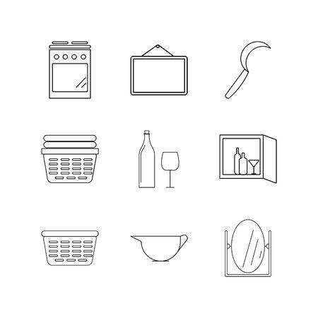 Huistoestellen lineaire icon set. Eenvoudige overzichtspictogrammen