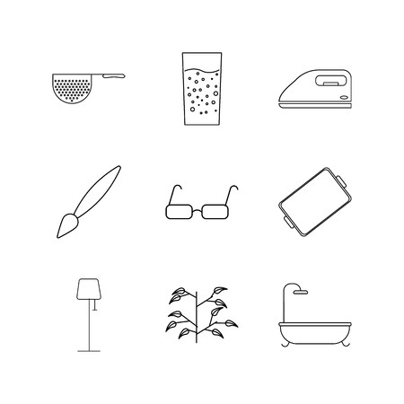 Home Appliances linear icon set. Simple outline icons