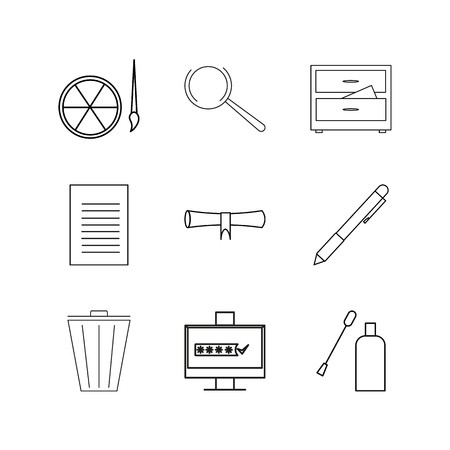 Office equipment linear icon set. Simple outline icons