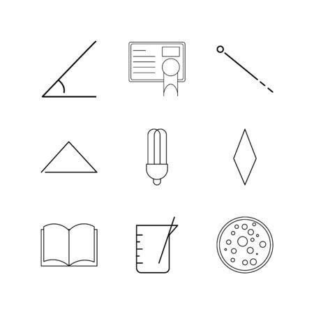 Conjunto de ícones linear de ciência. Ícones de contorno simples Foto de archivo - 94907468