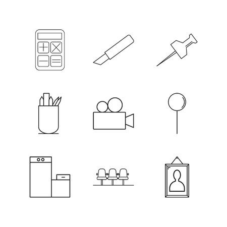 Lineare lineare Ikone des Büros . Einfache Gliederungssymbole Standard-Bild - 94975221