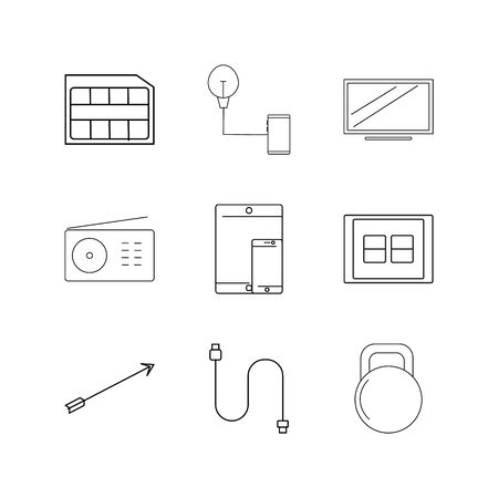 Devices linear icon set. Simple outline icons