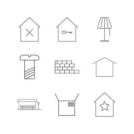 Buildings, Construction And Industry linear icon set. Simple outline icons Illustration