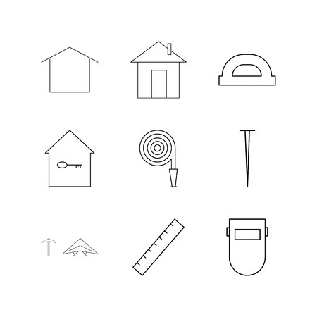 Buildings, Construction And Industry linear icon set. Simple outline icons 일러스트