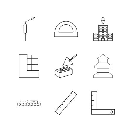 Buildings, Construction And Industry linear icon set. Simple outline icons Иллюстрация