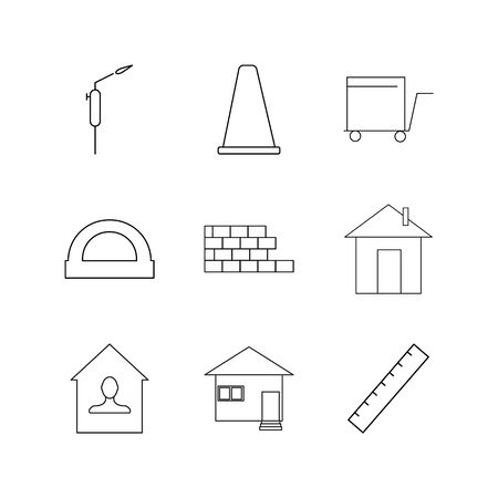 Buildings, Construction And Industry linear icon set. Simple outline icons Ilustrace