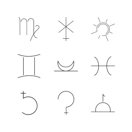 Astrology linear icon set. Simple outline icons